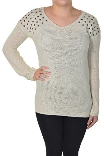 Absolutely Famous Studded Shoulder Sweater (Natural),Sweaters,Absolutely Famous - Discount Divas