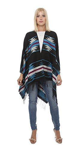 Highness Aztec Reversible XLarge Poncho,Sweaters,Highness - Discount Divas