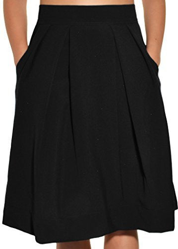 Avital Juniors Pleated Aline Skirt (Black Solid),Skirts,Avital - Discount Divas