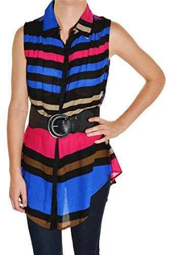 Feline Striped Wide Elastic Belted Sleeveless Shirt (Black Pink Blue),Shirts,Feline - Discount Divas