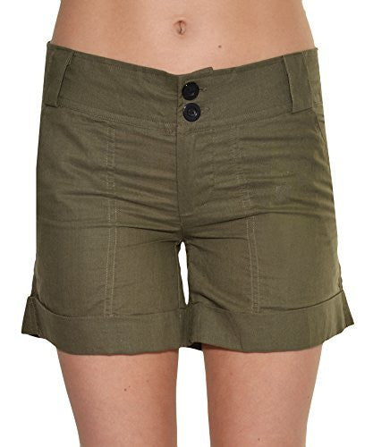 Press Womens Cuffed Linen Shorts,Shorts,Press - Discount Divas