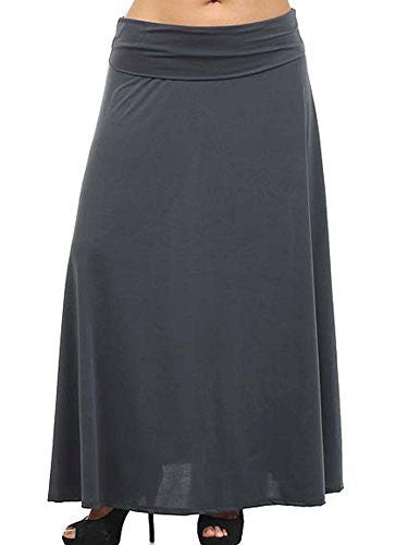 Avital Solid Stretch Maxi Skirt (Charcoal Gray),Skirts,Avital - Discount Divas