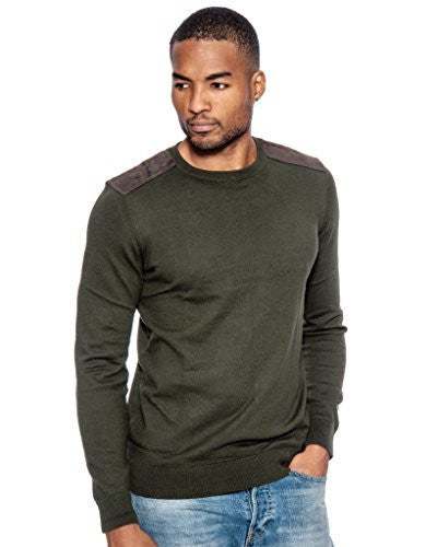 True Rock Mens Shoulder Patch Sweater (Olive Green),Sweaters,True Rock - Discount Divas