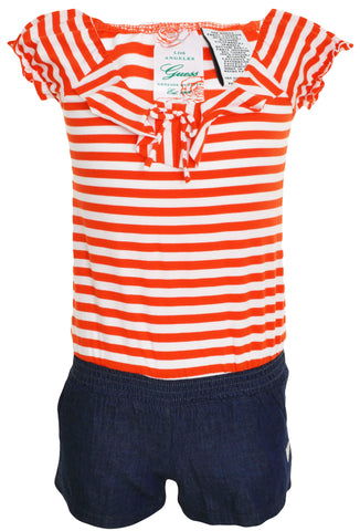 Guess Jeans Girls Shorts Romper (Orange Striped)