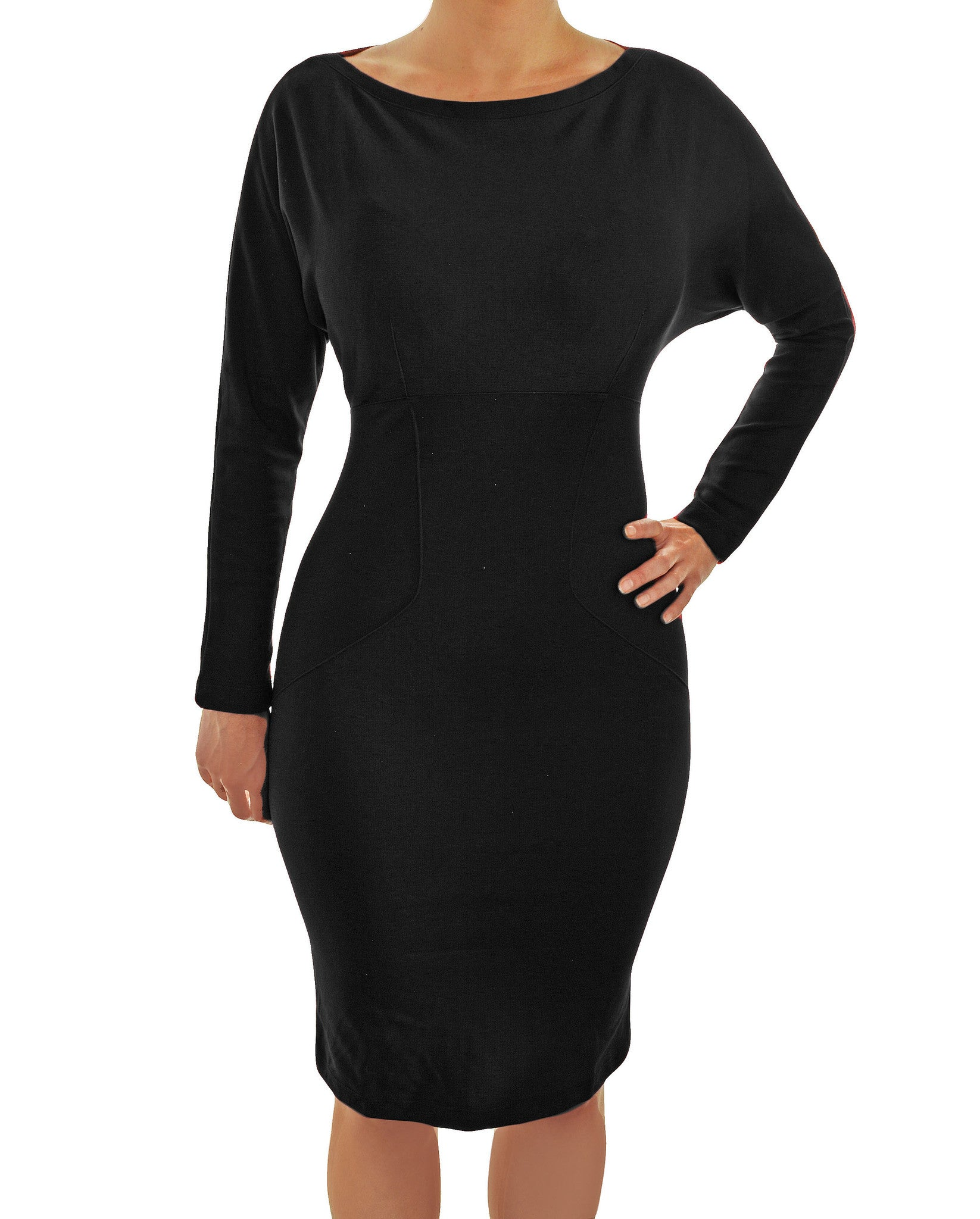 Pinup Couture Laura Byrnes Black Label Dovima Batwing Stretch Wiggle Dress | Black,Dress,Pinup Couture - Discount Divas