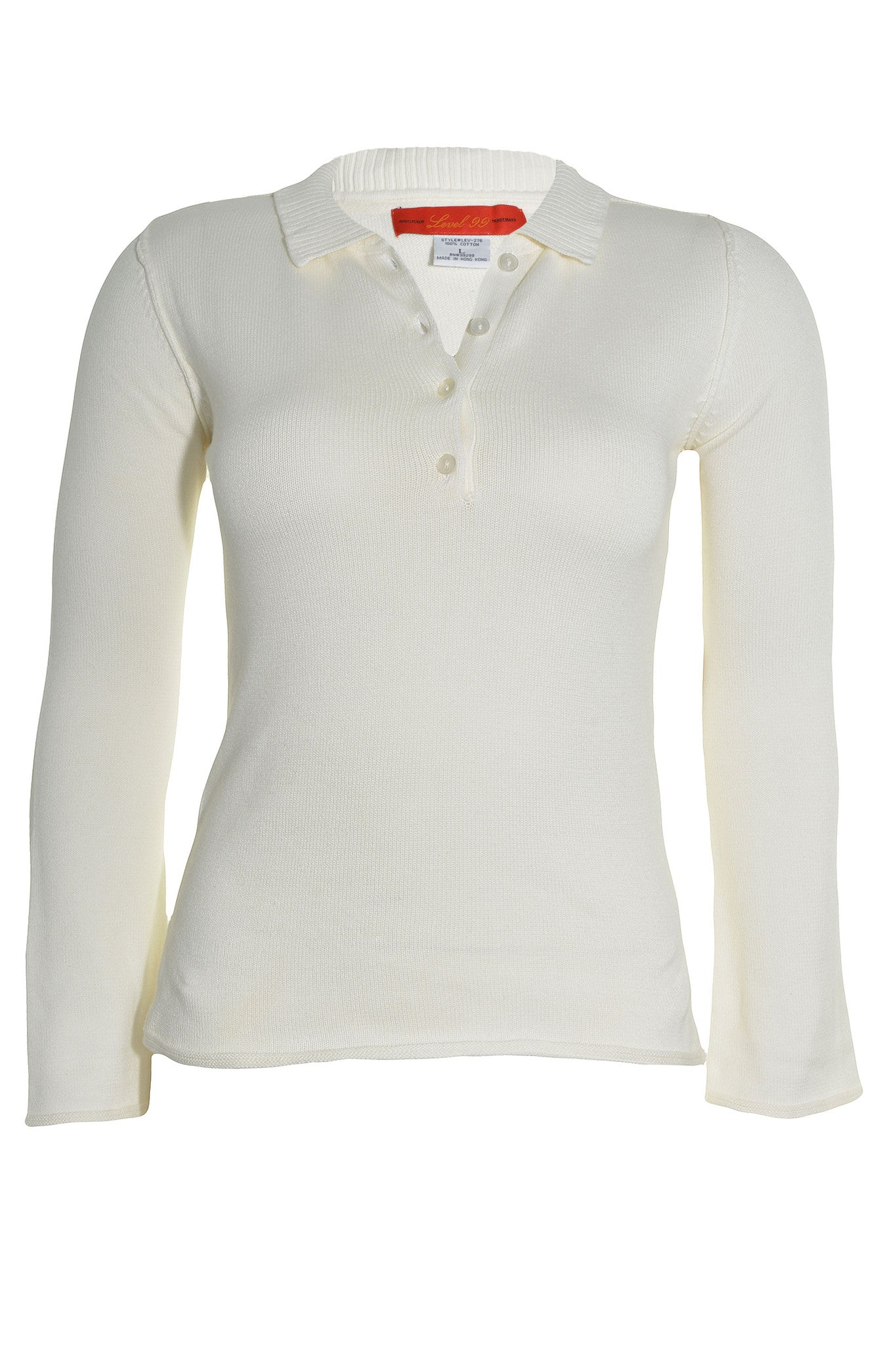 Level 99 Womens Collared Pullover Knit  Polo Sweater | Off-White