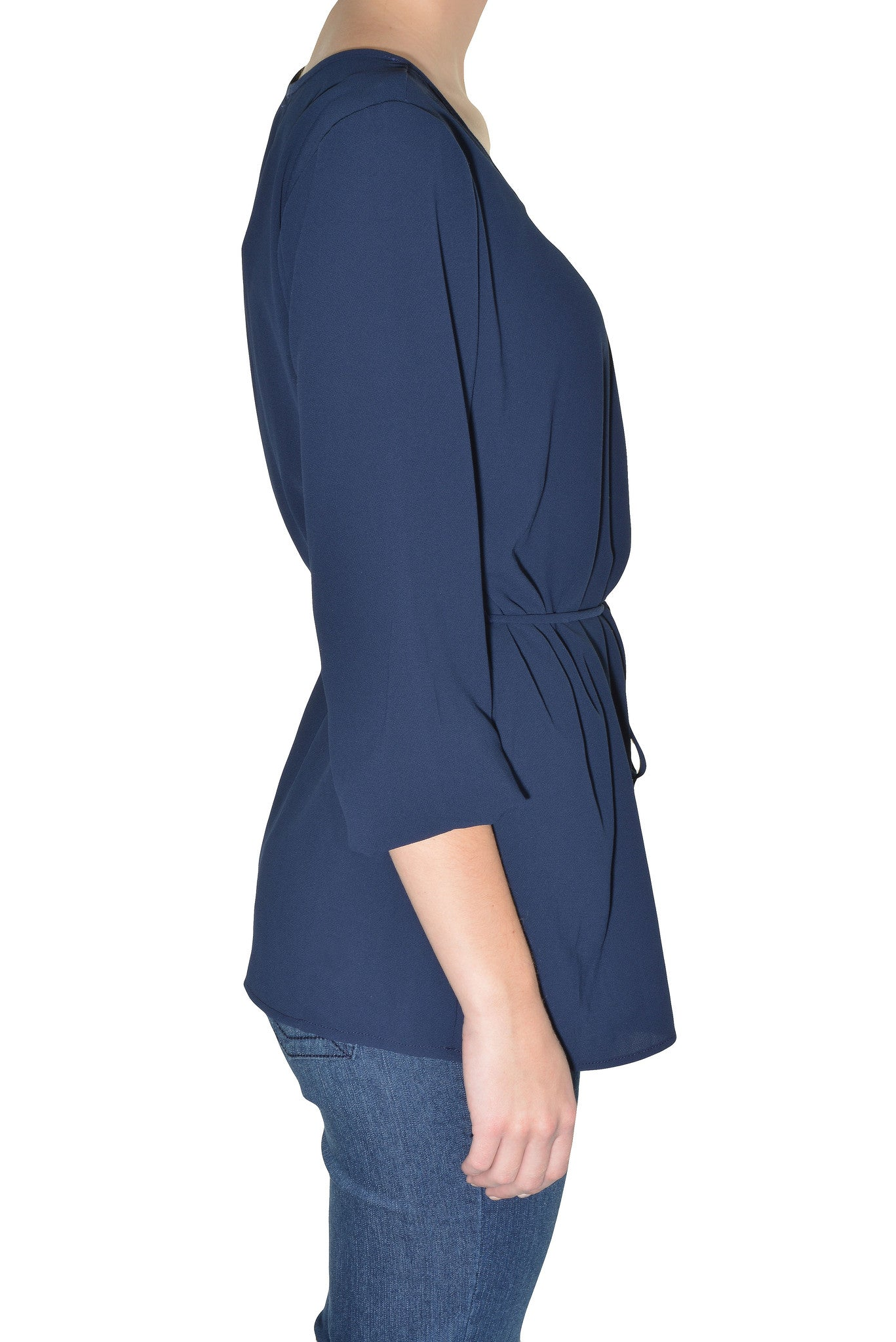 Carrie Allen Metal Accent Blouse (Navy Blue Gold)