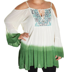 Highness Ombre Cold Shoulder Tunic (White Green)