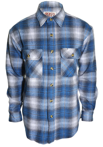 Sports Afield Mens Heavy Flannel Shirt (Highland Blue Plaid),Shirts,Sports Afield - Discount Divas
