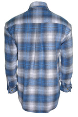 Sports Afield Mens Heavy Flannel Shirt (Highland Blue Plaid)