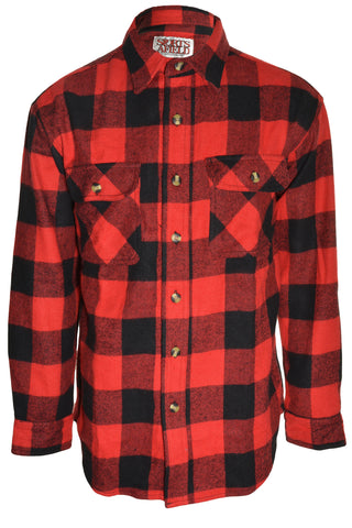 Sports Afield Mens Buffalo Flannel Shirt (Red Black),Shirts,Sports Afield - Discount Divas
