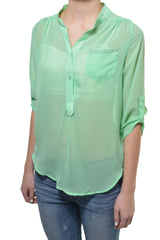 Penelope Lace Back High Low Chiffon Layering Shirt (Mint Green Pastel)