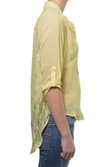 Penelope Lace Back High Low Chiffon Layering Shirt (Yellow Pastel)