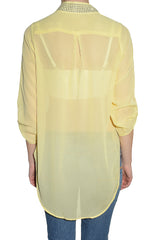 Penelope High Low Sheer Chiffon Layering Shirt (Yellow)