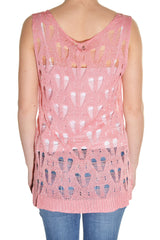 Lace Knit Sparkle Sweater Layering Tank Top Shirt (Pink)