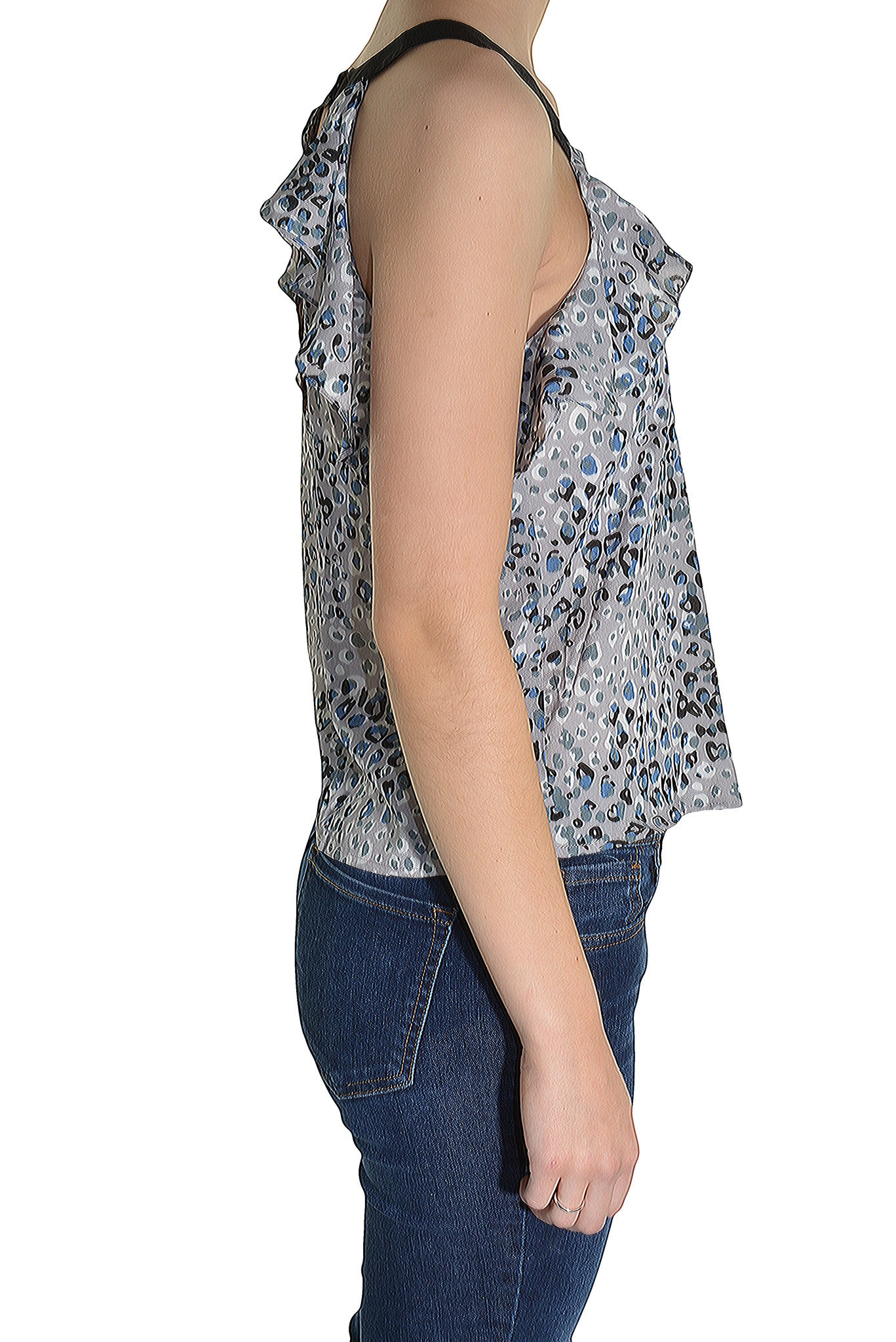 Naked Zebra Silky Ruffle Tank Top Shirt (Gray)