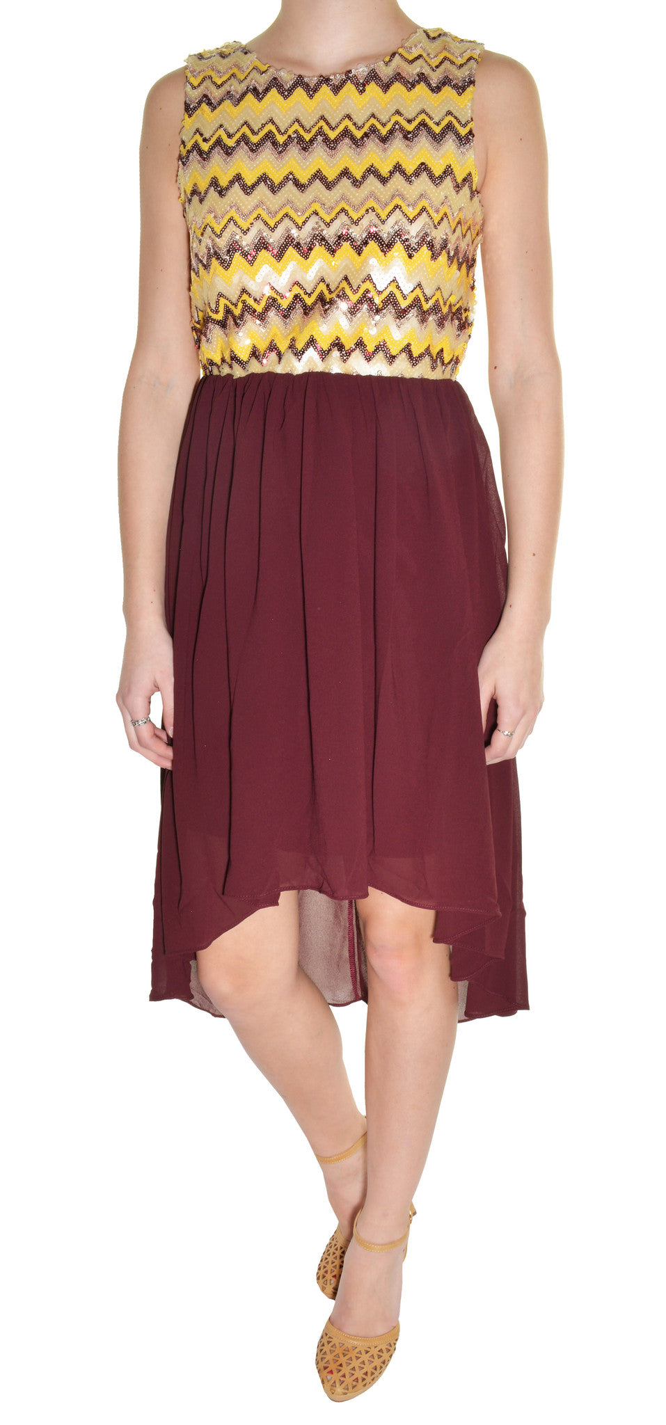 Sequin High Low Chiffon Cocktail Dress (Burgundy Red Gold) – The ...