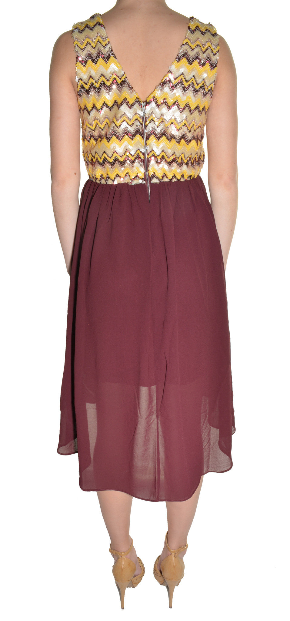 Sequin High Low Chiffon Cocktail Dress (Burgundy Red Gold)
