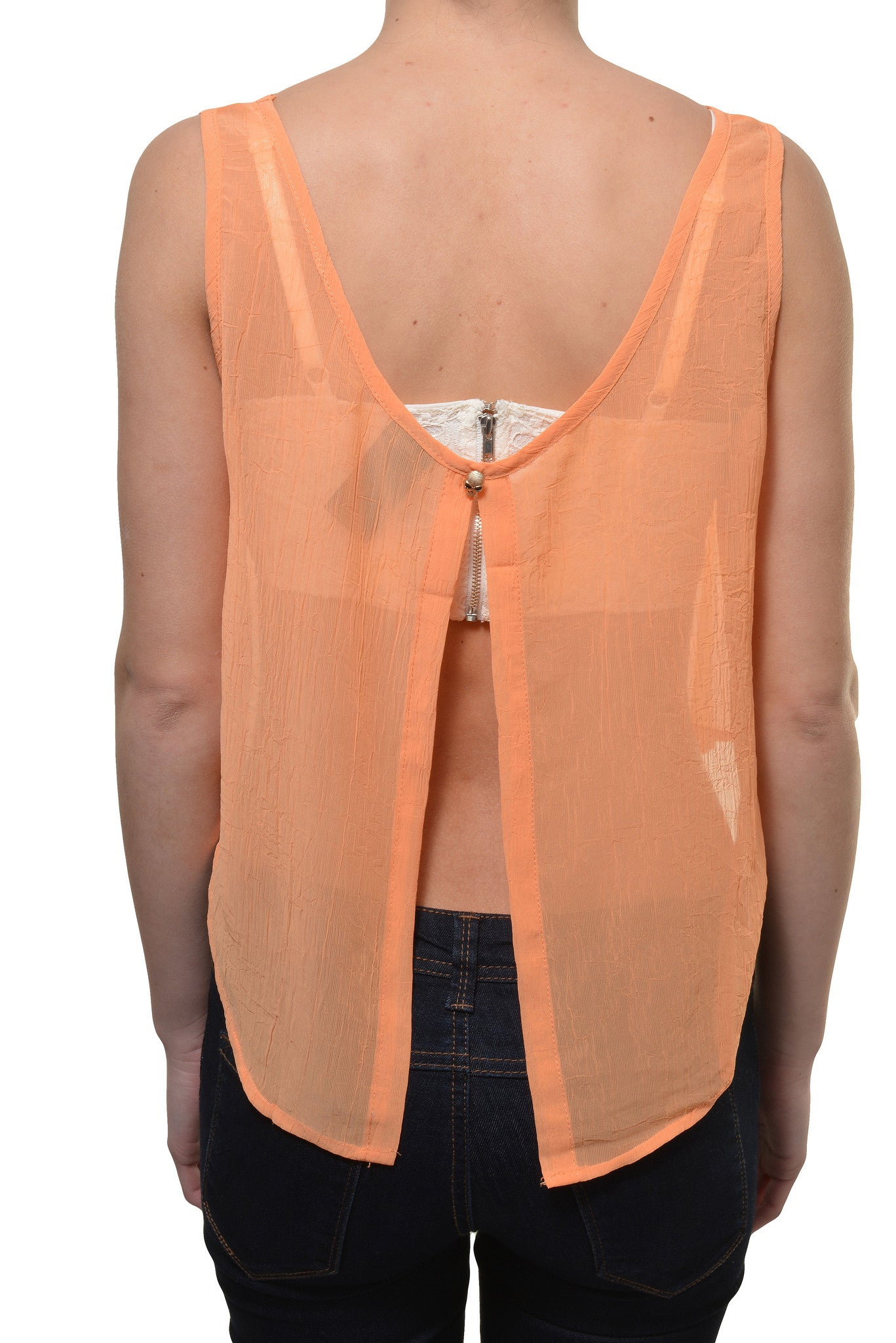 Skull Chiffon Open Back Layering Crop Top Shirt (Orange)
