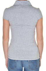 Sport V-Neck Ruched Snap Polo Shirt (Heather Gray),Shirts,H2Gear - Discount Divas