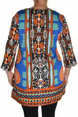 Highness Womens Plus Size Geometric Henley Tunic Shirt (Blue Multi)