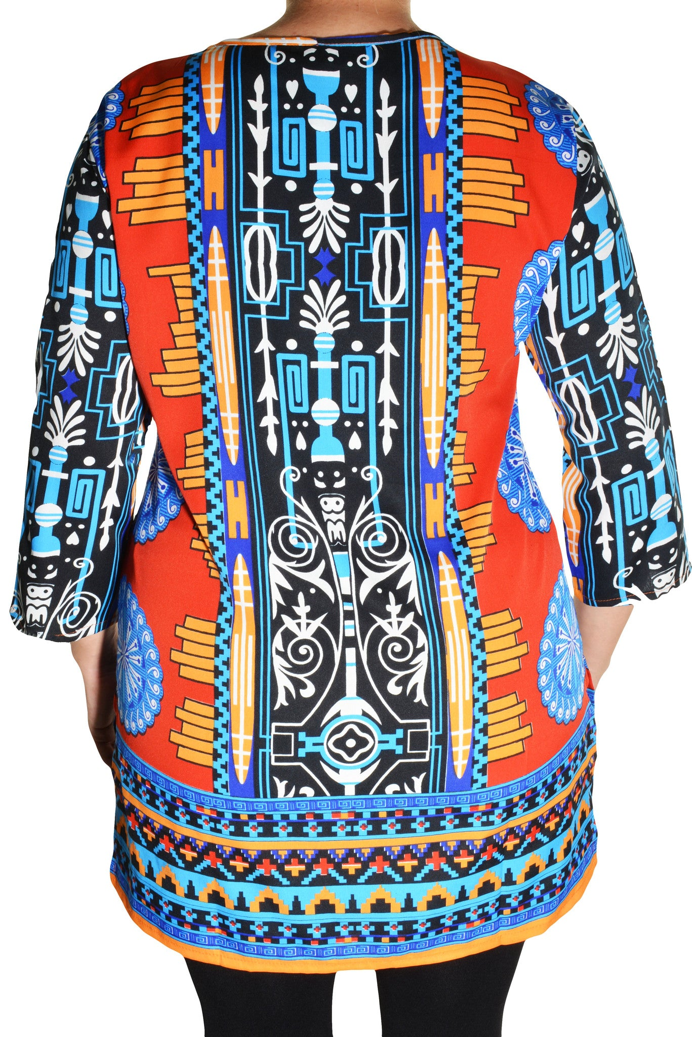 Highness Womens Plus Size Geometric Henley Tunic Shirt (Red Multi)