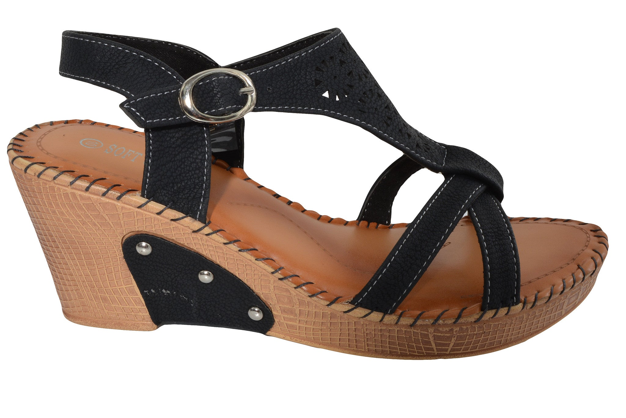 Soft Comfort Platform Wedge Sandals (Black)