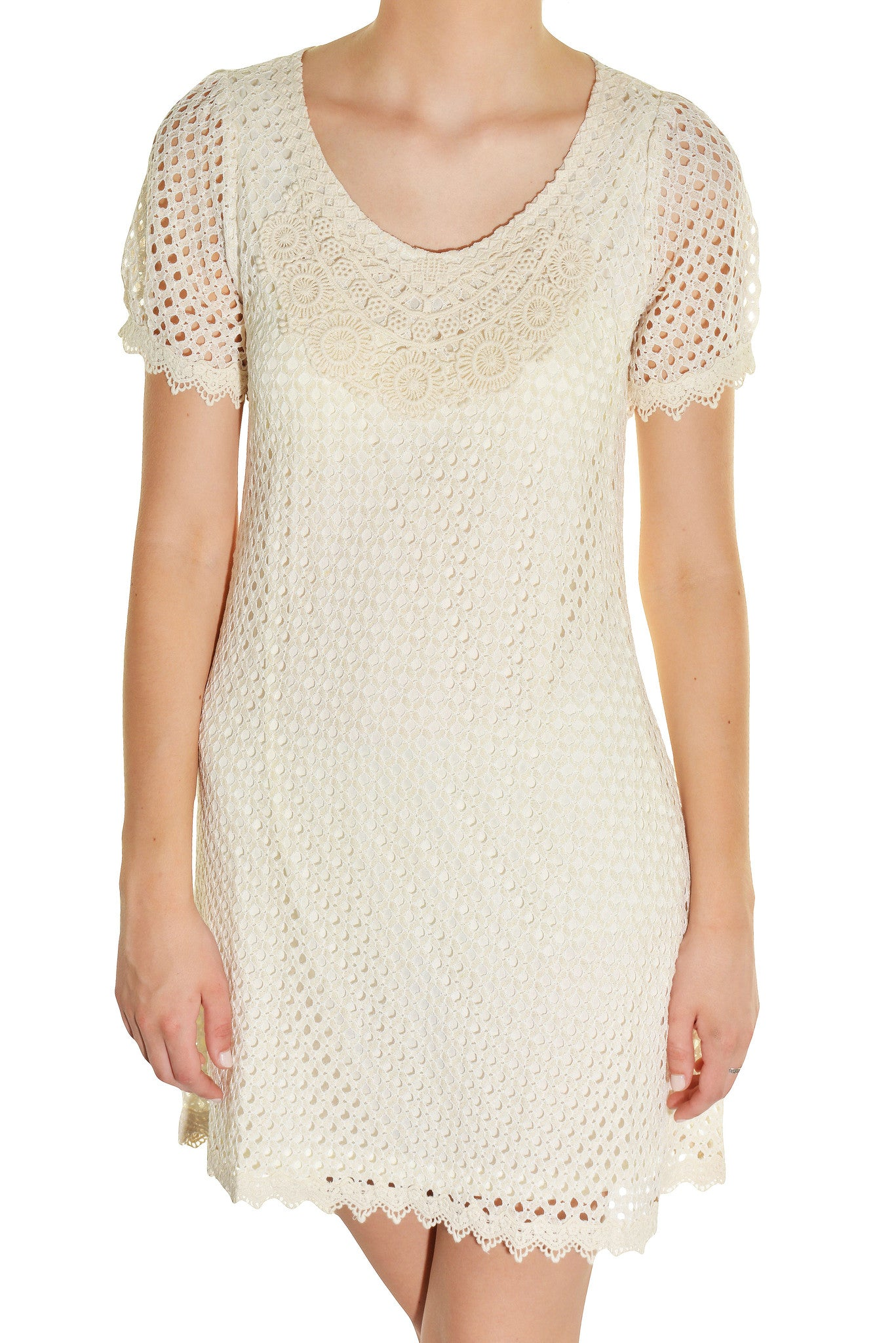 Banana USA Eyelet Micro Mod Dress (Ivory White),Dress,Banana USA - Discount Divas