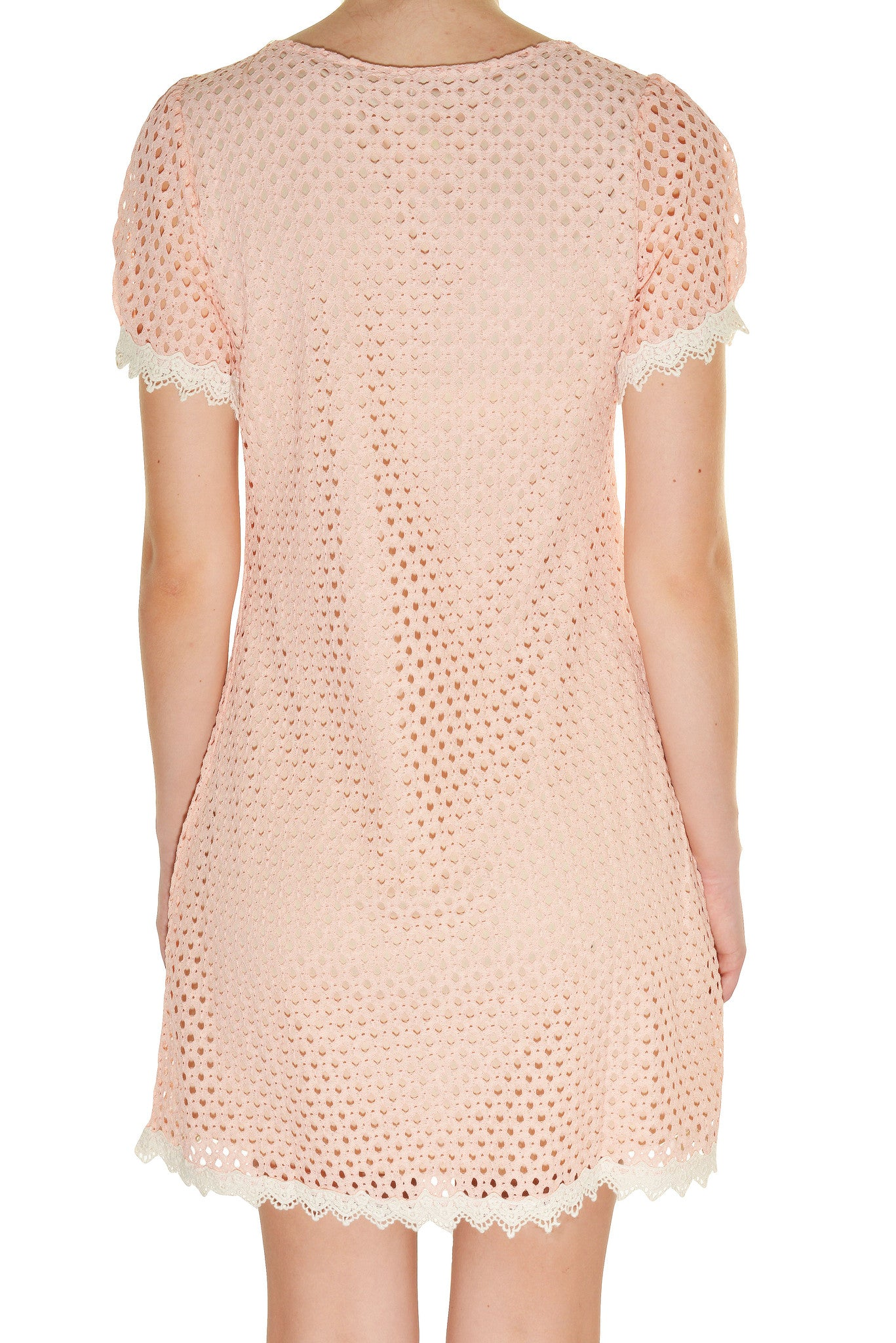 Banana USA Eyelet Micro Mod Dress (Peach Pink),Dress,Banana USA - Discount Divas