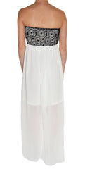 Banana Sheer Layer Lace Overlay Maxi Dress (White Black),Dress,Banana USA - Discount Divas