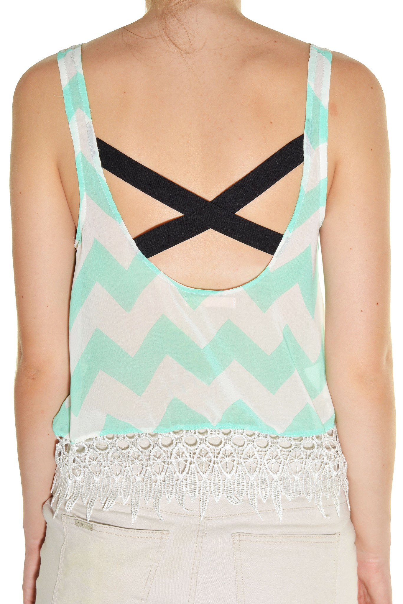 Banana USA Chiffon Lace Zig Zag Tank (Mint Green White),Shirts,Banana USA - Discount Divas
