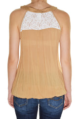 Feline Lace Back Boho Peasant Tank Top Shirt (Khaki Brown Cream)