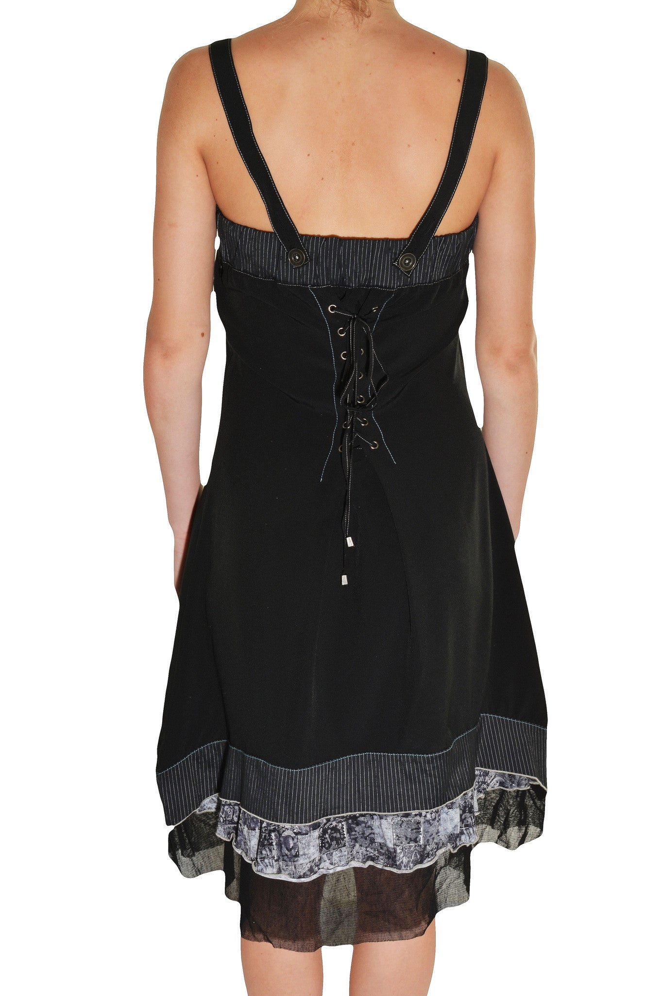 Forla Paris Pleated Corset Dress (Black)