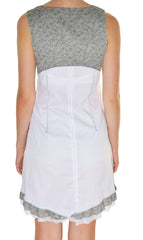 Forla Paris French Trimmed Aline Dress (White Gray),Dress,Forla Paris - Discount Divas