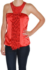 Grifflin Paris Satin Fringe Halter Club Cocktail Shirt (Red)