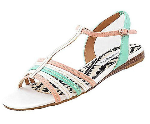 City Classified Ines Strappy Flat Sandal (Pastel White Green Pink),Sandals,City Classified - Discount Divas