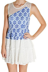 Banana USA Filigree Lace Overlay Dress (White Cobalt Blue),Dress,Banana USA - Discount Divas