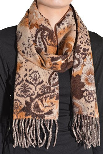 "Enzo Mantovani 12"" X 62"" Cashmere Scarf (Paisley Brown),Scarves and Wraps,Enzo Mantovani - Discount Divas"