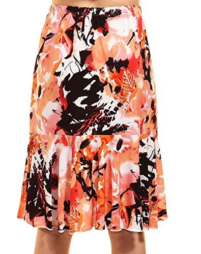 Avital Floral Fit and Flare Skirt (Pink Print),Skirts,Avital - Discount Divas