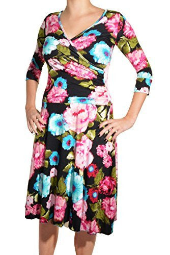 Avital Surplice Ruched Floral Dress,Dress,Avital - Discount Divas