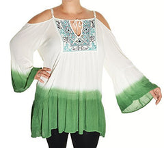 Highness Ombre Cold Shoulder Tunic (White Green),Tunics,Highness - Discount Divas