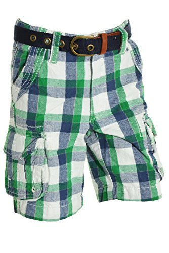 Eddie Bauer Boys Belted Cargo Shorts (Green Blue Plaid),Shorts,Eddie Bauer - Discount Divas