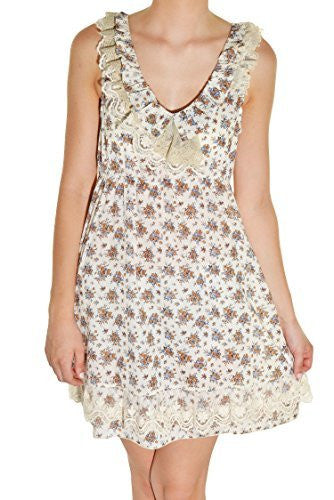 Calico Lace Country Floral Dress (Coffee Ivory),Dress,Forla Paris - Discount Divas