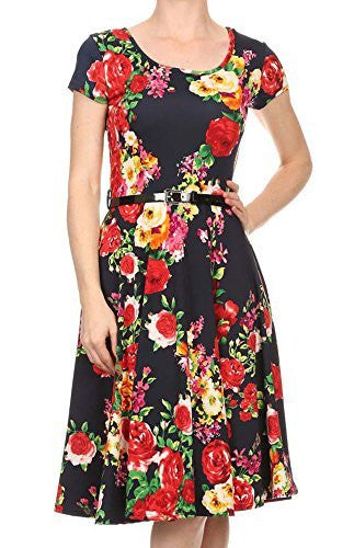 Avital Belted Slimming Stretch Day Dress (Navy Blue Floral),Dress,Avital - Discount Divas