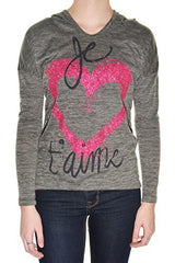Glitter Graphic Juniors Hooded Lace Back Tee (Je T'aime Pink Gray),Shirts,Moraea Collection - Discount Divas