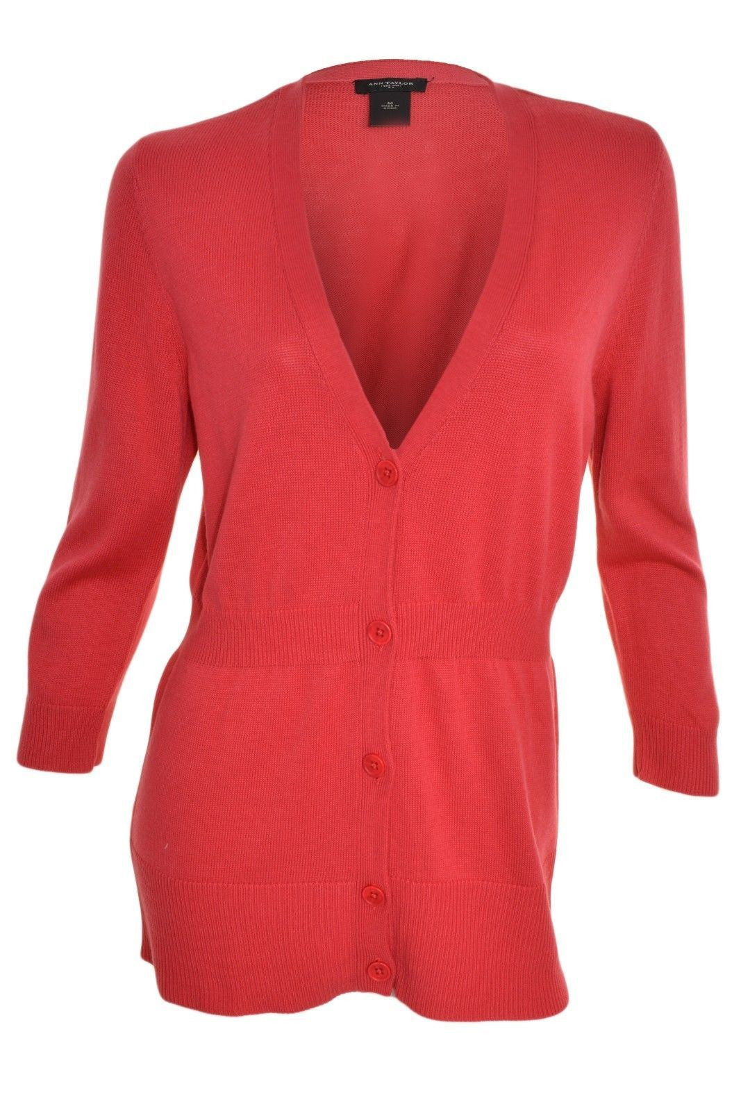 Ann Taylor Long V-Neck Cardigan (Strawberry Pink),Cardigan,Ann Taylor - Discount Divas