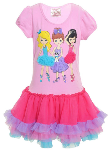 Beautees Little Girls T-Shirt Dress (Pink Girlfriends),Dress,Beautees - Discount Divas