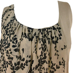 Ann Taylor Chiffon Overlay Tank Top Shirt (Brown Black Leaves),Shirts,Ann Taylor - Discount Divas