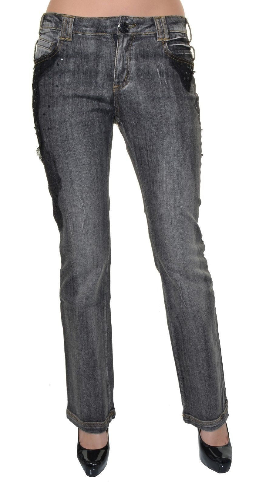 Womens Embellished Narrow Boot Jeans,Jeans,Newport News - Discount Divas