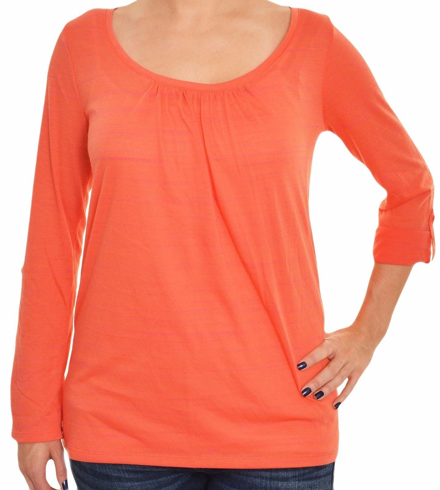 Ann Taylor Roll Tab Lightweight TShirt (Orange),Shirts,Ann Taylor - Discount Divas